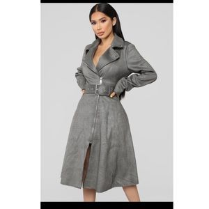 Taking Charge black long trench coat